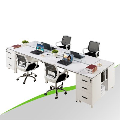 4 People Office Desk with Drawer Cabinet
